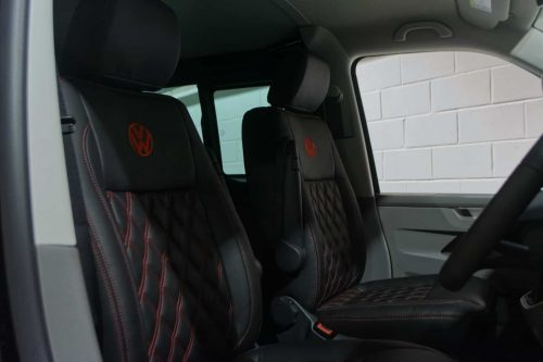 VW Transporter ABT custom front leather seats black and red