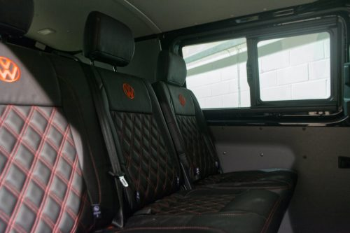 VW Transporter ABT Kombi rear custom leather seats black and red
